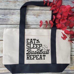 Eat Sleep Baseball Repeat - large Canvas Tote Bag